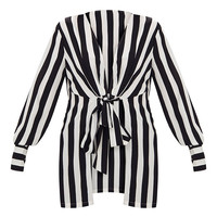 Monochrome Stripe Tie Front Long Blouse
