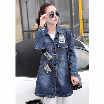Denim Long-Sleeve Patches Button Collared Jacket