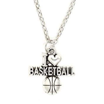 I Heart Basketball Necklace Athletic Ball Charm Sports Pendant NQ40 Silver Tone Fashion Jewelry