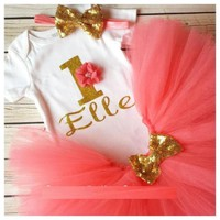 Personalized custom one 1st Birthday glitter Minnie Mouse Girls Onesuit Coral And Gold tutu outfit