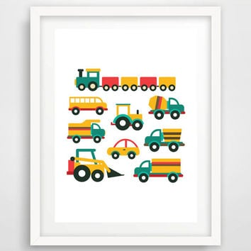 Cars, Trucks, Vans, Buses, Trains Transport Kids Bedroom Nursery Print, Wall Print, Color, Digital, Download, Printable, Modern Art