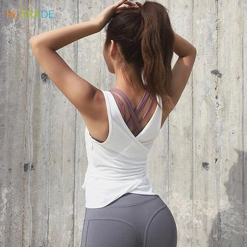 Yoga Tops 2018 Sleeveless Sports T Shirts Fitness Gym Clothing Athletic Tank Tops Workout Fitness Yoga Shirts Women Active Wear