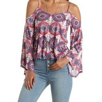 Medallion Print Cold Shoulder Bell Sleeve Top