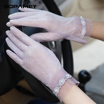 2017 Spring and Summer Women Vintage Sunscreen Sexy Lace Gloves Lady anti-uv Gloves Female driving outdoor Gloves 13 Color