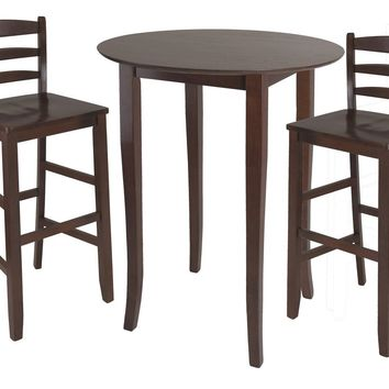 Fiona 3pc High Round Table with Ladder Back Stool by Winsome Woods