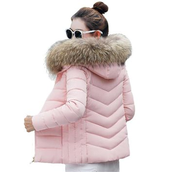 2017 New Winter Jacket Women thick Snow Wear Coat Lady Clothing Female Jackets Parkas Fake fur collar parka down cotton jacket