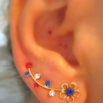 Ear Sweep Wrap - Cuff Earring Ear Climber with Swarovsky - Gold filled - Blue Red White