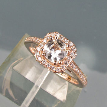 White Sapphire Square Cushion 14k Rose Gold Engagement Ring Diamond Halo Wedding Anniversary Gemstone Ring