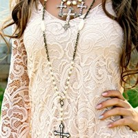 Pearl Beaded Cross Necklace
