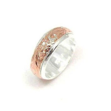SILVER 925 HAWAIIAN PLUMERIA SCROLL SPIN RING PG SIZE 9