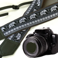Grey DSLR Camera Strap. Lucky elephant Camera Strap. Camera accessories. Photographer gift.