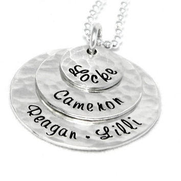 Personalized Layered Necklace - Personalized Hand Stamped Jewelry