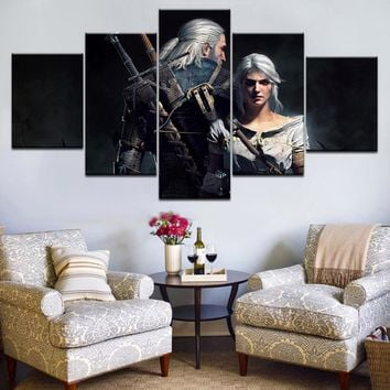 5pcs HD Canvas Canvas Drawing Game The Witcher 3: Wild Hunt Group Home Decorating Wall Posters Modular Photos