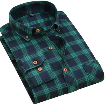 Large Men Plaid Shirts Long Sleeved Flannel Collar Casual Shirts Male