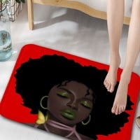 Afro Hair Lady Flannel Skidproof Bathroom Rug