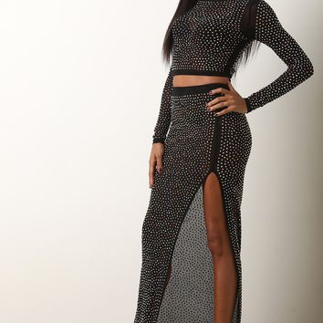 Holographic Rhinestone Mesh Crop Top With Maxi Skirt Set
