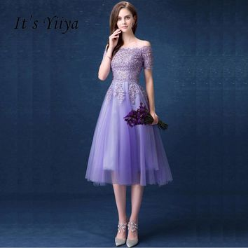 Purple Boat Neck Short Sleeve Evening Gowns Bling Sequined Flower Form Evening Party Prom Dress Tulle