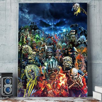 Iron Maiden Collage Heavy Metal Wall Art 1 Piece Canvas