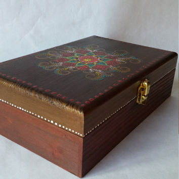 Wooden box,jewelry box, hand painted box, keepsake box, wood painted box, key box, floral design box, ring box, picture box