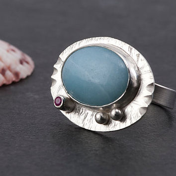 Amazonite ring - sterling silver and gemstone with lab grown pink sapphire, one of a kind, handmade details