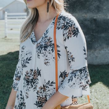 Floral Ruffle Sleeve Top, Ivory Multi