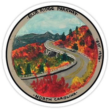 'Blue Ridge Parkway- Viaduct' Sticker by Noble Bison