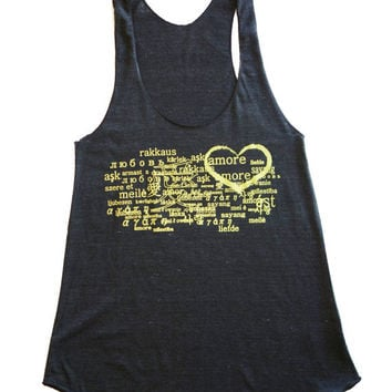 American Apparel  Tri-Blend Racerback Tank Women's Tank with Love in Languages graphic print