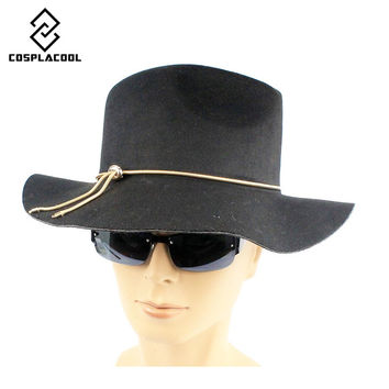 COSPLACOOL Fashion  Winter Women Men Jazz Hard Felt Bowknot Fedora Panama Bowler Wide Brim Hat Gangster Cap