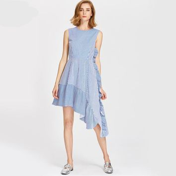 Asymmetrical Cute Ruffle Dress Fit Flare Blue Stripe Women Dresses Elegant Zip Casual Mini Tank Dress