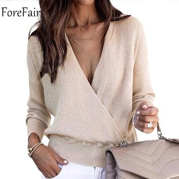 Forefair V Neck Women Sweater Trend Cross Casual Long Sleeve Sweaters Knitted Winter Sexy Sweater Female