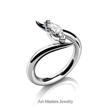 Avant Garde 14K White Gold 1.0 Carat Marquise White Sapphire Solitaire Engagement Ring R418-14KWGWS