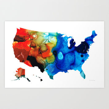 United States of America Map 4 - Colorful USA Art Print by Sharon Cummings
