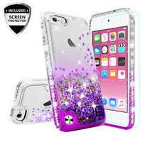 Apple iPod Touch 6, iPod Touch 5 Case Liquid Glitter Phone Case Waterfall Floating Quicksand Bling Sparkle Cute Protective Girls Women Cover for iPod Touch 6/iPod Touch 5 - Purple