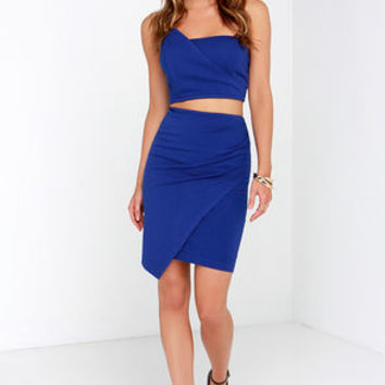Victory Lap Royal Blue Strapless Two-Piece Dress