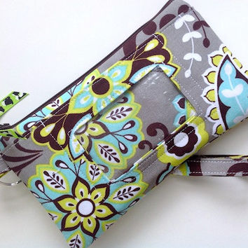 iPhone6 Wristlet w/ ID Window,Student ID Wallet ,Smartphone Case Wristlet w/ Keyring Padded -Pouch Purse Padded -Paisley Floral Grey NEW