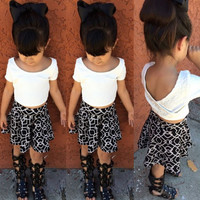 Baby Girl Kids Summer V-Back T-shirt Top Clothes+Geometric Dress Skirt Outfits