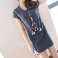 Short Sleeves Crystal Beaded Eiffel Tower Long Graphic Tee