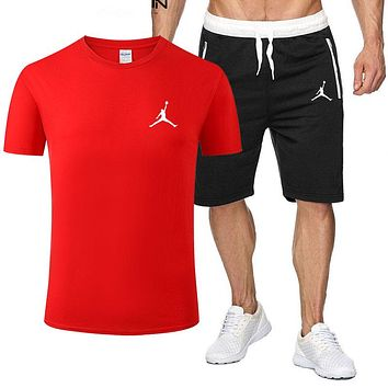 JORDAN Fashion Men Casual Print Short Sleeve Top Shorts Sport Set Two-Piece Red