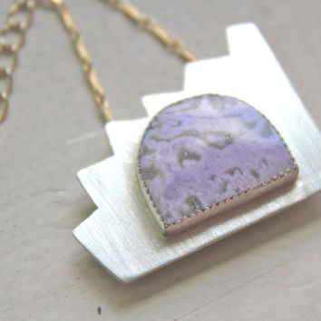 Purple Agate Silver Necklace