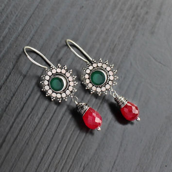 Green Onyx & Ruby Silver Jhumkas, green onyx earrings, ruby jewelry, bali earrings, ethnic earrings, green red jewelry, gemstone earrings
