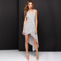 Sleeveless V-neck Sheath Wrap Ruffled Mini Dress