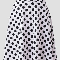 Betty Polka Dot Skirt In White