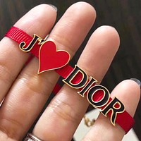 Dior New fashion love heart letter bracelet women Red