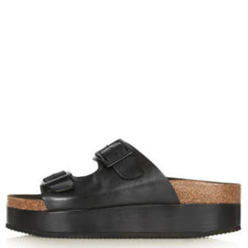 FANG Double Buckle Flatforms - Black