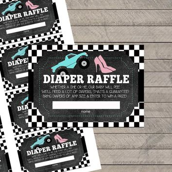 Wheels or Heels Gender Reveal Diaper Raffle Tickets
