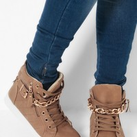 Delaware Tan & Gold Quilted Hi Top Trainers | Pink Boutique