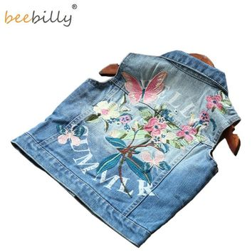 Trendy BEEBILLY Girl Waistcoat Spring Autumn Kids Vest Jacket 2018 Flower Butterfly Embroidered Denim Vest Child Clothes Girls Clothes AT_94_13