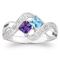 Sterling Silver Couple's Princess-Cut Birthstone Ring - FindGift.com