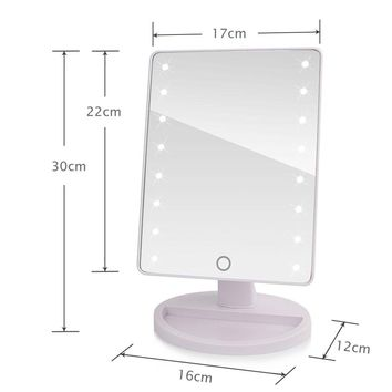 16- 22 LED Lights  LED Touch Screen Makeup Mirror