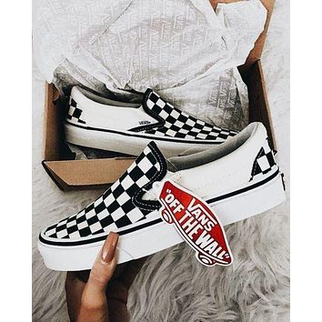 VANS Slip-On Canvas Old Skool Checkerboard Pattern Fashion Classic Flats Sneakers Sport Shoes I/A